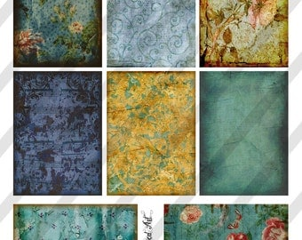 Digital Collage Sheet Shades of Blue Background Images (Sheet no. O76) Instant Download