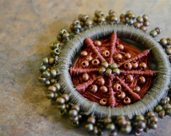 Beaded Dorset Button Brooch in Olive and Copper