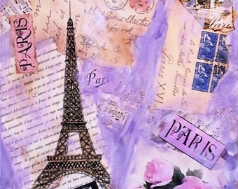 """ZNE Mixed Media Collage - Art by ruby -""""Post Card From Paris"""" - 11x14 Canvas"""