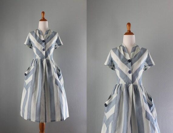 1950s Dress / Vintage 50s Blue Stripe Day Dress / Patch Pocket Full Skirt Fifties Dress