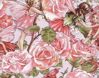 Flower Fairy Rose Sweet Garden Pink Cicely Mary Barker Fabric 1 yard