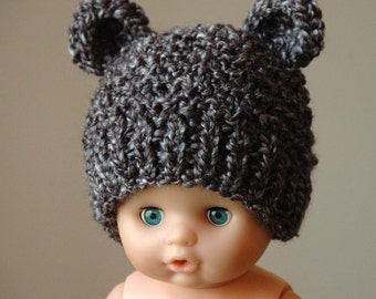 Newborn Baby Bear Hat, Knit Bear Hat, Knitted Baby Hat, Gray Bear Hat, Newborn Beanie Hat, Newborn Photo Prop, Baby Boy Hat, Baby Girl Hat