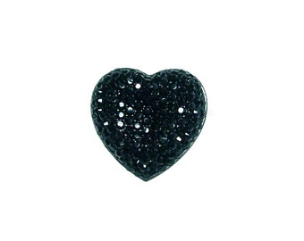 Faceted Black heart cabochon 24mm