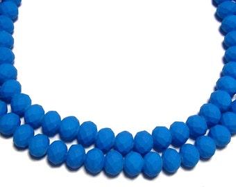 6x8mm Neon Blue rubberized rondelle beads 30pcs
