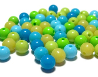 8mm Smooth Round Acrylic Beads Ocean Blue mix 100pcs