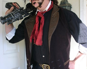 """Brown Faux Suede and Pleather """"Booker DeWitt"""" Steampunk Victorian Lapeled Double Breasted Gentlemen's Vest"""