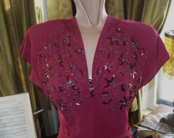30's Vintage MINT Condition Gorgeous Fuschia Colored   Evening Gown With Sequence and  Beading Not  Bias Cut