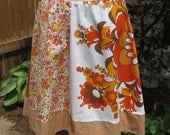 Sweet Four Panel A-line Skirt for Women - Upcycled & Vintage Fabrics - Size Large