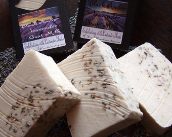 BLACK AMBER LAVENDER Goat Milk Lavender Buds Handmade Soap Bar