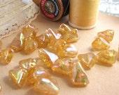 Vintage topaz AB crackle glass beads West Germany (12)