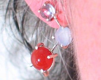 Earrings with Amathyst, Chalcedoney, and Carnelian