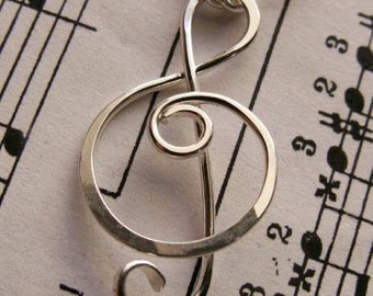 Treble Clef Pendant - Sterling Silver Artisan Design Wire Wrapped Metalwork Jewelry