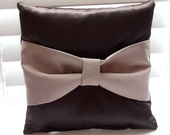 Satin Ring PIllow in Chocolate and Latte