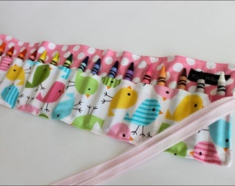 Pastel Bird Crayon Holder-Crayon Roll Up-Girl Christmas Gift-Girl Stocking Stuffer-Girl Birthday Gift-Crayon Organizer-Kids Travel Item