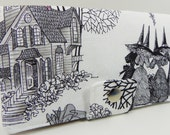 The Ghastlies Witches in cream or smoke gray background-  Handmade Long Wallet  BiFold Clutch