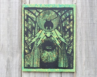 The Light 8X10 Wood Screenprint Green