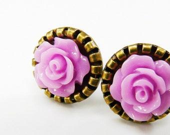 Earrings Post Earstuds Studs Lavender Purple Lilac Antique Bronze Flower Earrings