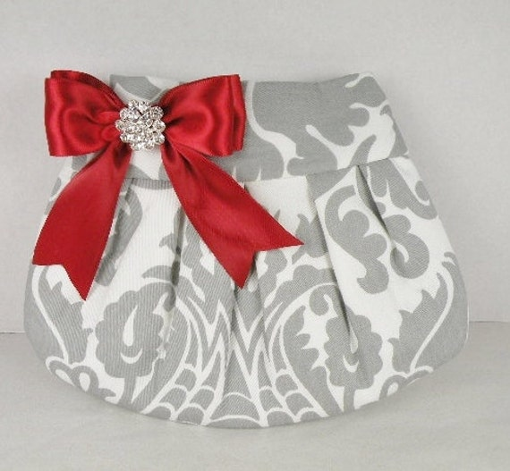 Pleated Clutch  Wedding  Bridesmaid  AMSTERDAM  Gray (Storm) and White with Scarlet Red Satin Bow and Crystal
