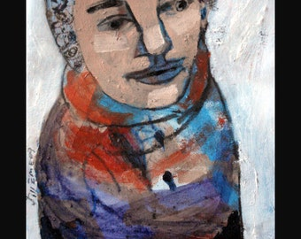 outsider EMERY original painting 'she made her whole winter wardrobe'