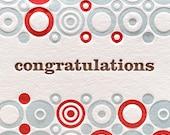 Congratulations Letterpress Card Circle Pattern Letterpress Card Congratulations in Red, Blue, and Brown