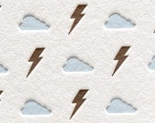 Letterpress Card Note Bolts and Clouds in Blue Brown Original