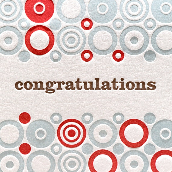 Congratulations Letterpress Card Circle Pattern Letterpress Card Congratulations in Red, Blue, and Brown
