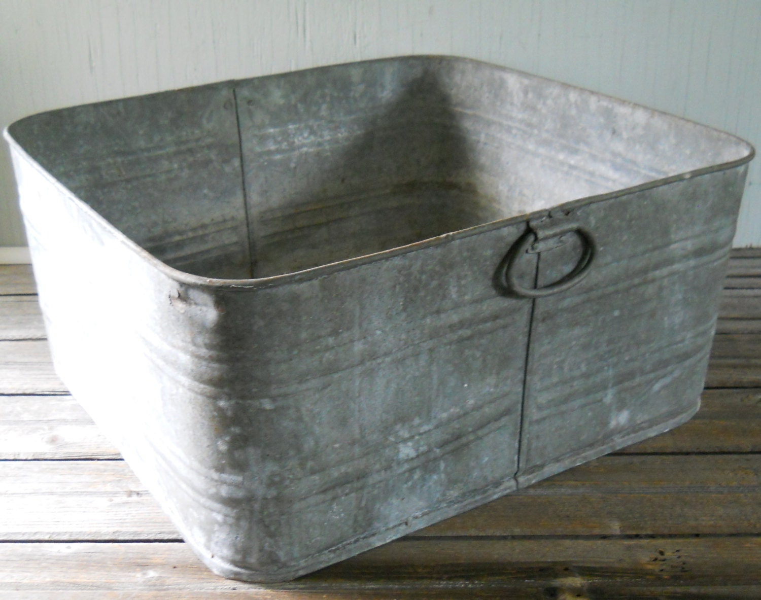 Vintage Galvanized Wash Tub Large Square