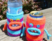 TWO Knit Monster Cozies for Cans or Bottles