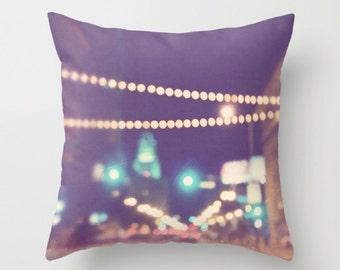 LA pillow cover, purple plum throw pillow, Los Angeles pillow case, LA home, gold bokeh, modern, DTLA housewares, loft decor, 20x20