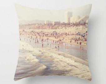 pillow cover, throw pillow, beach pillow home decor, decorative pillow case, neutral gray, summer, Santa Monica beach home accent, LA