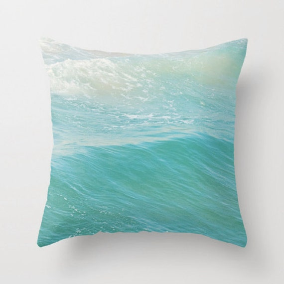 throw pillow cover beach cottage decor peppermint blue ocean