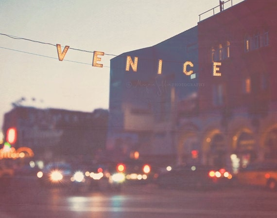 large wall decor, Venice beach sign, California photography,  LA photo, summer vacation, beach house, rainbow bokeh