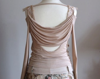 Innocently sexy off shoulders long sleeves jersey blouse, sandy beige top embelished with beaded lace, artsy clothing, art to wear top