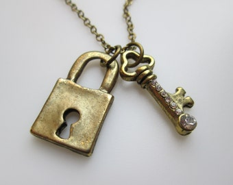 Lock and Key with Crystals Necklace