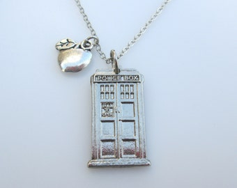 Doctor Who TARDIS NECKLACE with Amy Pond Apple Charm Accent