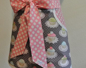 Cupcakes trimmed in Pink and White Polka Dot Adult Half Apron with Pockets