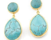Blue Turquoise Earrings silver coated with gold vermeil