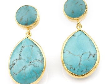 Blue Turquoise Earrings made with silver coated 18K gold, big long turquoise, teardrop earrings, blue drop turquoise, post back earrings