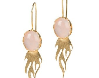 Earrings on Fire with Pink Rose Quartz