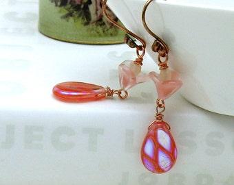 Coral Beaded Dangle Earrings, Dichroic Pink Beaded Earrings,Teardrop,Bright, For Her Under 40