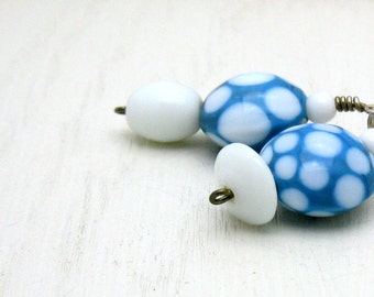 Blue White Dotted Lampwork Beaded Earrings, Blue Dangle Boho Geometric Earrings, for Her Under 50, One of a Kind