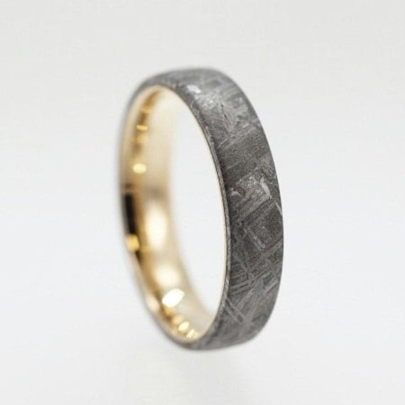 14k yellow gold wedding band with meteorite by jewelrybyjohan