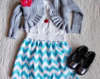OVERSTOCK SALE Aqua Chevron Skirt