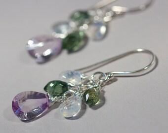 Rose Amethyst Green Apaite Gemstone Dangle Earrings Sterling Silver Handmade