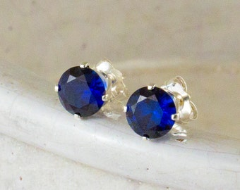 Sapphire Stud Earrings 6mm Blue Sappire Post Earrings September Birthstone Midnight Blue