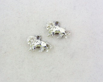 Pair of Silver-tone Pewter Walking Lion Charms