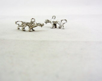 Pair of Silver-tone Pewter Tiger Charms