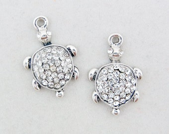 Small Pair of Silver-tone Rhinestone Turtle Charms