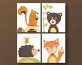 Squirrel Nursery art bear nursery fox nursery hedgehog playroom art kids wall art baby nursery decor woodland nursery set of 4 prints