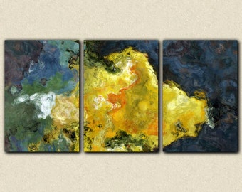 "Triptych abstract giclee canvas print with gallery wrap, 24x48 to 40x78 in yellow, from abstract painting ""Sun Storm"""